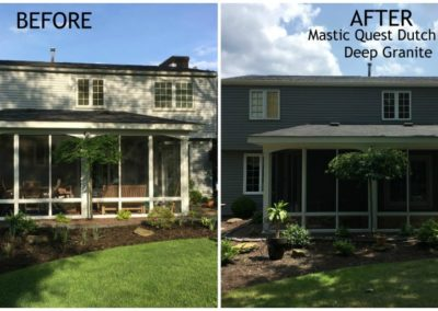 Before and After comparison of siding installation project.